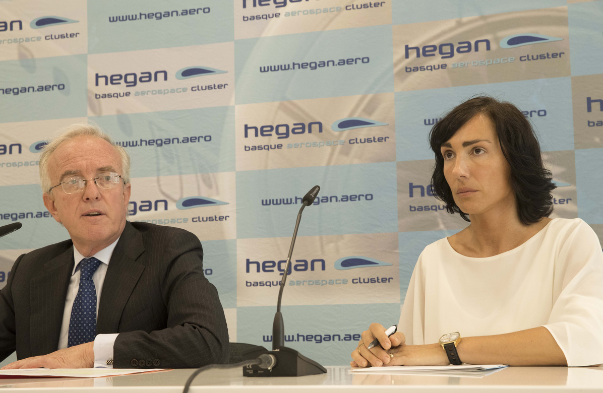 Jorge Unda (President of Basque Aerospacel Cluster HEGAN) and Ana Villate (Managind Director of Cluster HEGAN)